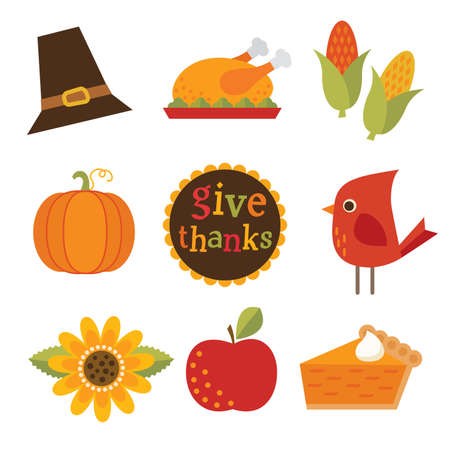 Set of cute, colorful design elements for autumn, fall and thanksgiving. Give Thanks typographic message included.