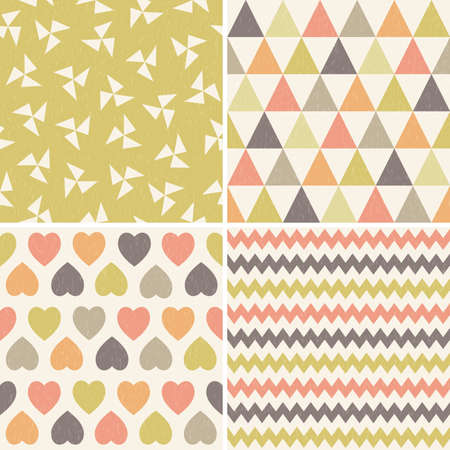 Vector set of seamless hipster geometric background patterns in coral mustard yellow and brown with triangles chevrons hearts and polygons. For gift wrapping paper textiles scrapbooking baby. Light grunge overlay.