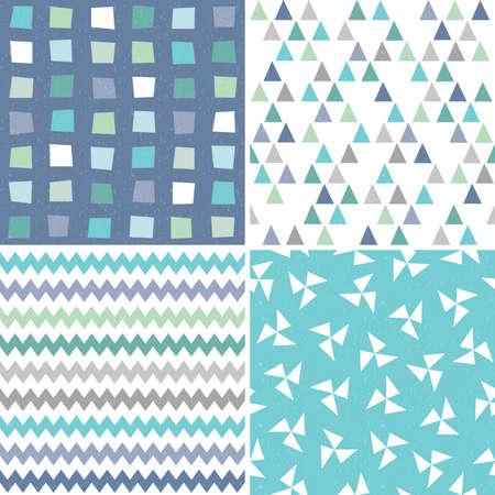 Vector ensemble de hippie sans soudure motifs de fond géométriques dans de l'eau bleu marine et blanc avec des triangles et des polygones chevrons. Modèles masculins pour les textiles de papier d'emballage-cadeau et scrapbooking. Grunge lumière superposition.