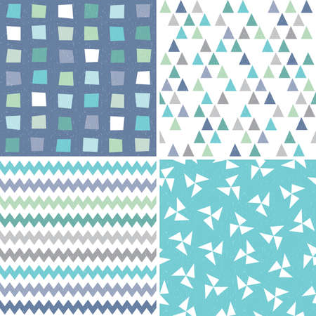 Vector set of seamless hipster geometric background patterns in aqua blue navy and white with triangles chevrons and polygons. Masculine patterns for gift wrapping paper textiles and scrapbooking. Light grunge overlay.