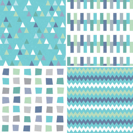 Vector set of seamless hipster geometric background patterns in aqua blue green and gray with triangles chevrons and polygons. Masculine patterns for gift wrapping paper textiles and scrapbooking. Light grunge overlay. Illusztráció