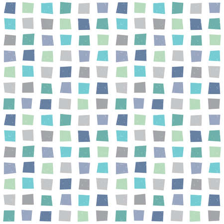Seamless vector hipster geometric background pattern with polygons in aqua blue green navy. Masculine pattern for boys baby gift wrapping paper textiles and scrapbooking. Light grunge overlay.