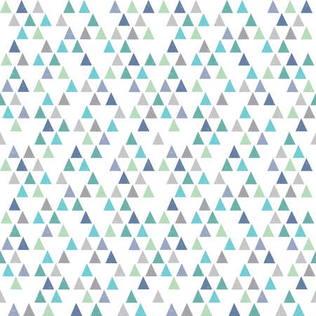 Seamless vector hipster geometric background pattern with mini triangles in aqua blue navy mint green and white. Masculine pattern for boys gift wrapping paper textiles and scrapbooking. Light grunge overlay.