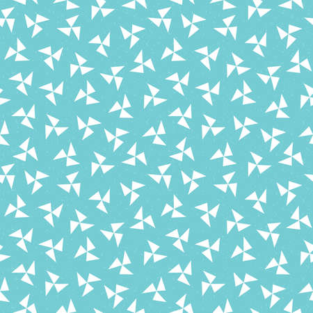 Seamless vector hipster geometric background pattern with pinwheel triangles in aqua blue navy mint green and white. Masculine pattern for boys baby  gift wrapping paper textiles and scrapbooking. Light grunge overlay.