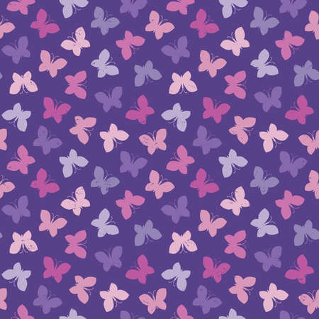 Seamless vector background with butterflies in purple and pink with light grunge effect