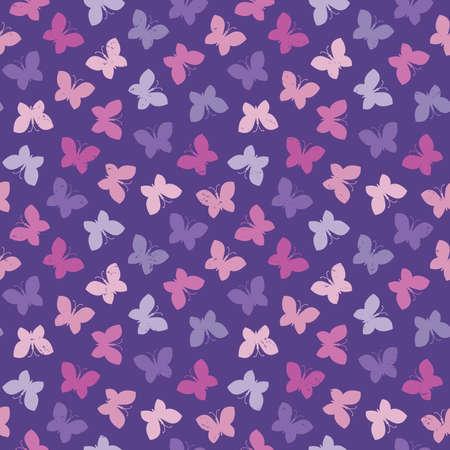 morado: Vector de fondo sin fisuras con las mariposas en púrpura y rosa con efecto grunge luz