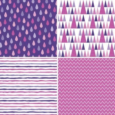 morado: Conjunto de 4 sin costura patrones de fondo inconformista, de color morado, blanco, magenta y rosa