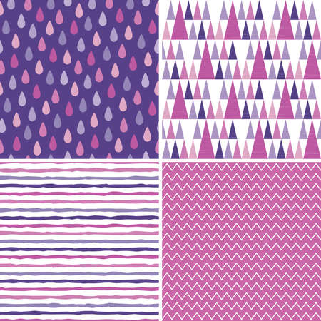 Set of 4 seamless hipster background patterns in purple, white, magenta and pink