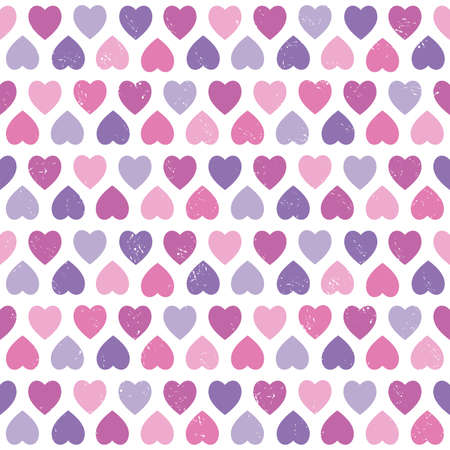 seamless hipster background with hearts pattern in pink and purple