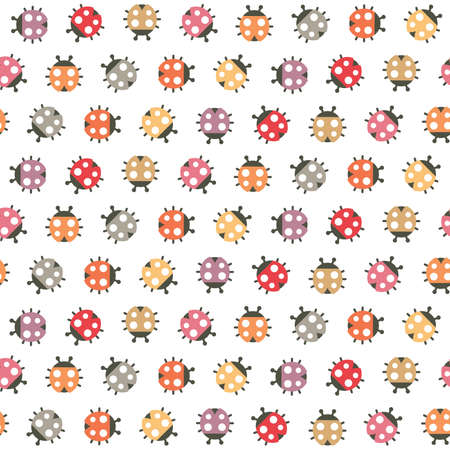 gift paper: Cute seamless Spring pattern with colorful ladybugs on white background. Nature pattern for kids, textiles, gift wrapping paper, wallpapers.