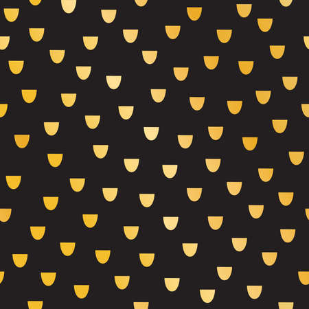 black fish: Seamless abstract confetti pattern for Christmas, wedding and celebrations. Hand drawn gold mermaid or fish scales on black background. For gift wrapping paper, greeting cards, wallpaper, textiles. Illustration