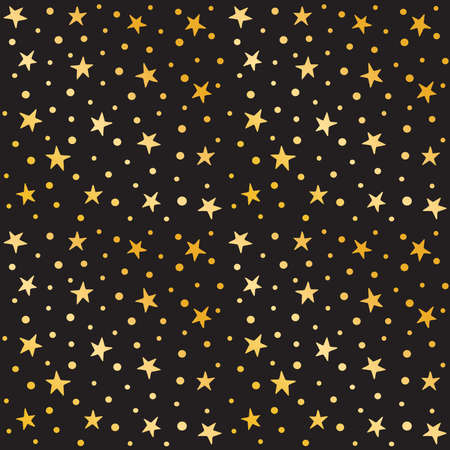 holiday celebrations: Cute seamless pattern for Christmas and celebrations. Hand drawn gold stars and polka dots on black background. Minimal holiday background for gift wrapping paper, greeting cards, wallpaper, textiles.