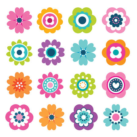 Set van platte bloem iconen in silhouet geïsoleerd op wit. Leuke retro illustraties in heldere kleuren voor stickers, labels, labels, scrapbooking. Stock Illustratie