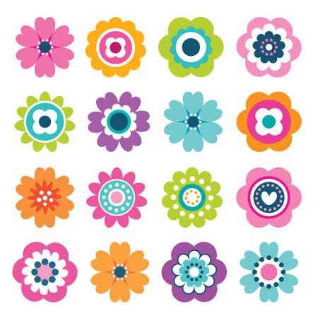 Set van platte bloem iconen in silhouet geïsoleerd op wit. Leuke retro illustraties in heldere kleuren voor stickers, labels, labels, scrapbooking. Vector Illustratie