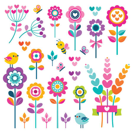 Vector set of retro style flowers, butterflies, birds and hearts in bright, pretty colors for girls. Cute spring garden and nature elements isolated on white for greeting cards, Easter, Mothers Day.