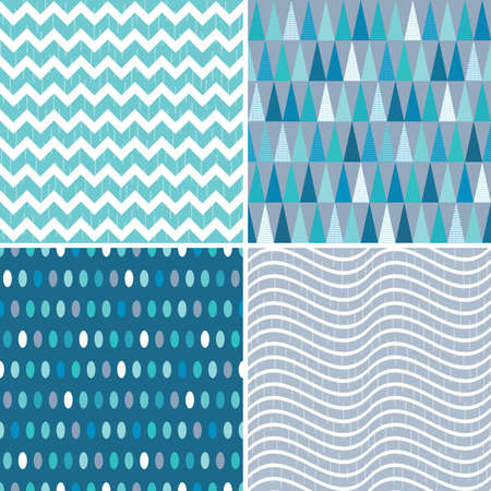 blue stripes: Set of seamless geometric masculine patterns in aqua blue and teal with grunge overlay. Includes chevrons, triangles, polka dots and stripes, for gift wrapping paper, wallpapers and surface textures. Illustration