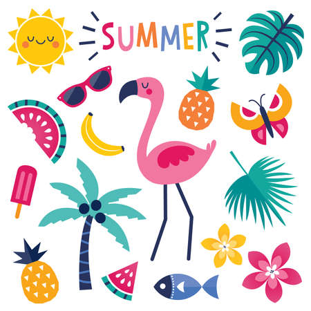Cute, colorful set of vector summer elements with pink flamingo, tropical leaves and flowers, tropical fruits and popsicle. Isolated on white, text reads 'Summer'.