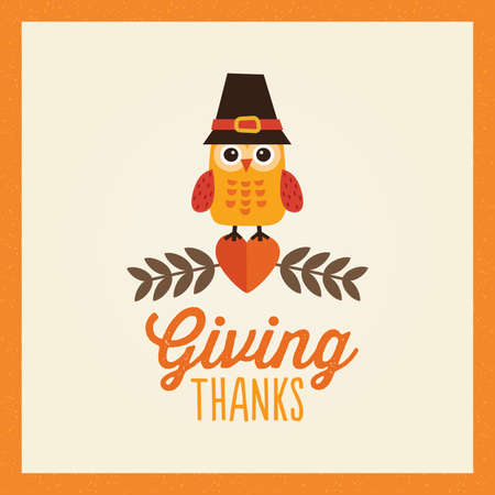 happy thanksgiving day card poster or menu template in orange