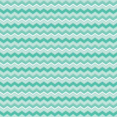 Cute seamless vector background pattern for babies with chevron stripes in mint green and white. Light grunge overlay on a separate layer. For textiles, wrapping paper, wallpapers. Illustration