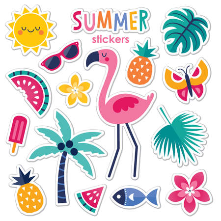 Cute, colorful set of vector summer stickers with pink flamingo, tropical leaves and flowers, tropical fruits and popsicle. Isolated on white, text reads 'Summer'. Drop shadows on a separate layer.