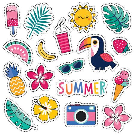 Karikaturartvektor-Sommerflecken mit niedlichem Tukan, tropischen Blättern und Blumen, Sommerfrüchten und Eiscreme. Isoliert auf Weiß, für Aufkleber, Anstecknadeln, Abzeichen, Modestickerei, Tätowierungen.