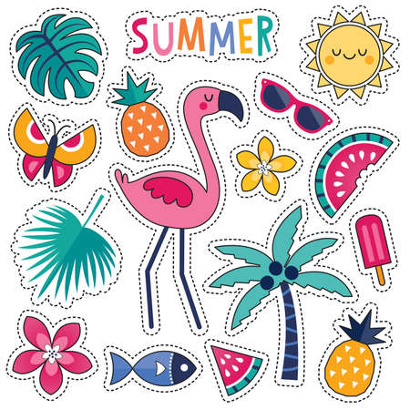 Cartoon style vector summer patches with cute pink flamingo, tropical leaves and flowers, summer fruits and popsicle. Isolated on white, for stickers, pins, badges, embroidery, temporary tattoos. Vectores