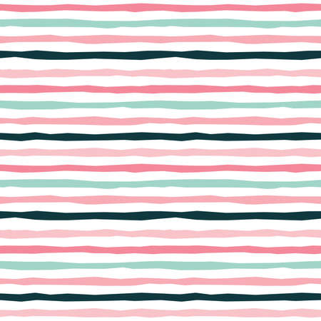 Cute seamless vector background with pastel hand drawn stripes in pink, mint, black for babies and girls. Fresh modern design on white background for textiles, cards, gift wrapping paper, wallpapers. Ilustração