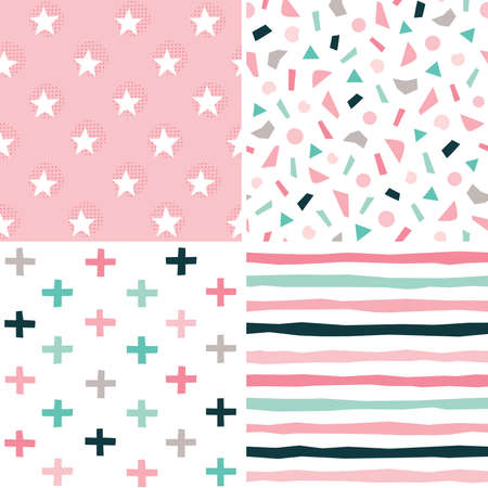 Set of seamless vector geometric backgrounds in blush pink, mint and black for babies and girls. Includes confetti, stripes, swiss crosses, stars for textiles, cards, gift wrapping paper, wallpapers. Çizim