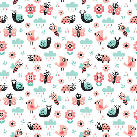 Cute seamless vector background with bugs, birds and flowers in blush pink and mint. Sweet nature theme pattern for kids, baby, nursery, home decor textiles, gift wrapping paper and wallpaper.