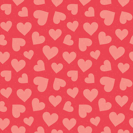 Cute seamless hipster hearts background in coral and blush pink. Minimal seamless love pattern for Valentines Day, greeting card, scrapbook, gift wrapping paper, fashion, fabric, textiles. Ilustração