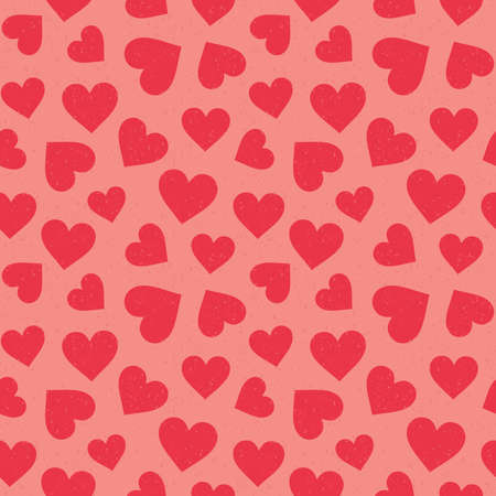 Cute seamless hipster hearts background in coral red on blush pink. Minimal seamless love pattern for Valentines Day, scrapbook, greeting card, gift wrapping paper, fashion, textiles, fabric.