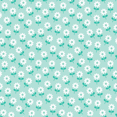 Cute seamless vector pattern with white daisies on mint background. Sweet floral mini print for fashion and home decor textiles, gift wrapping paper, and wallpaper.