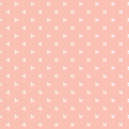 Cute seamless vector pattern with white leaves on blush pink background. Sweet leafy mini print for fashion and home decor textiles, gift wrapping paper, and wallpaper.