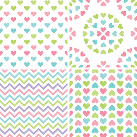 Set of cute seamless retro heart background in pretty pastel colors. Colorful love patterns for baby shower, Valentines Day, Mothers Day, textiles, gift wrapping paper, surface textures.