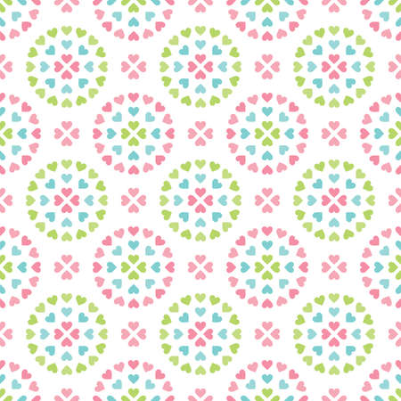 Cute seamless retro background in pretty pastel colors. Colorful love hearts pattern for baby shower, Valentines Day, Mothers Day, textiles, gift wrapping paper, scrapbook, surface textures.  Ilustração