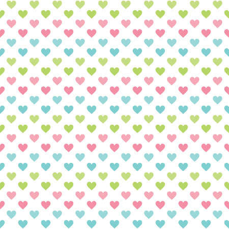 Cute seamless retro background with hearts pattern in pretty pastel colors. For baby shower, Mothers Day, Valentines Day, gift wrapping paper, textiles, scrapbook, surface textures.
