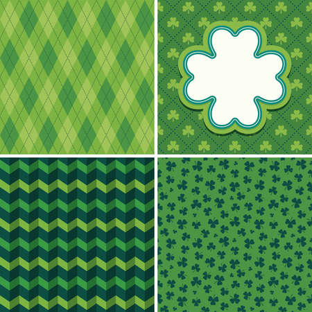 Set of seamless vector backgrounds in shades of green for Saint Patricks Day. Patterns include argyle, chevron stripes and shamrocks. Shamrock greeting card or web banner template with copy space.