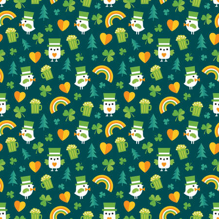 Cute seamless vector background for Saint Patrick's Day with leprechaun owls and birds, irish shamrocks and rainbows. For kids, greeting cards or web banners, textiles or gift wrapping paper.