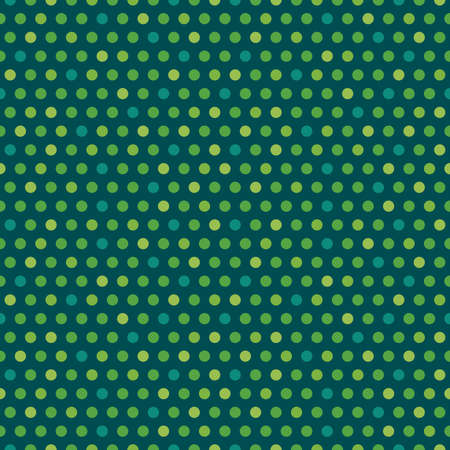 Cute seamless vector background for Saint Patrick's Day with ploka dots in shades of green and teal. Irish pattern for kids, greeting cards or web banners, textiles or gift wrapping paper. Ilustração