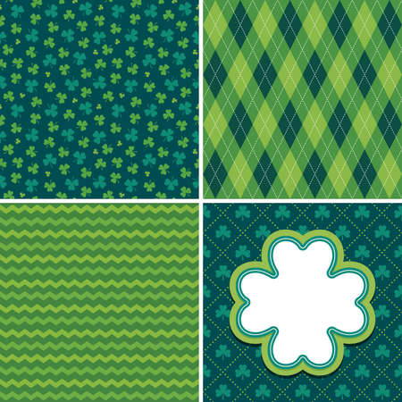 Set of seamless vector backgrounds in shades of green for Saint Patrick's Day. Patterns include argyle, chevron stripes and shamrocks. Shamrock greeting card or web banner template with copy space.
