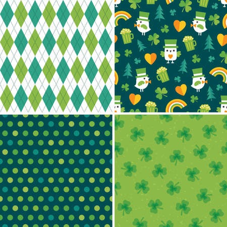 Cute set of seamless vector Saint Patrick's Day backgrounds with leprechaun birds, irish shamrocks, polka dots and argyle plaid. For kids, cards or web banners, textiles or gift wrapping paper. 矢量图像