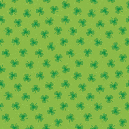 Cute seamless vector background for Saint Patricks Day with irish shamrocks on green background. For kids, greeting cards or web banners, textiles or gift wrapping paper.