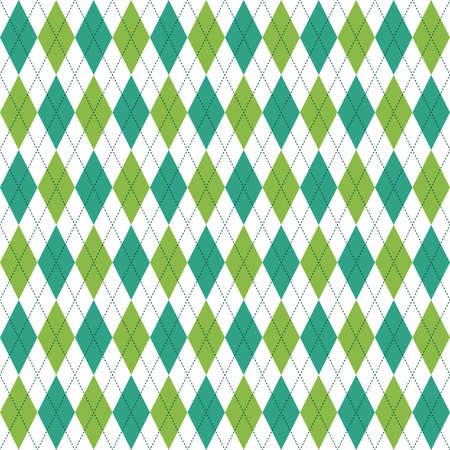 Seamless vector background for Saint Patricks Day with argyle plaid in teal, green and white. For greeting cards or web banners, home decor and fashion textiles or gift wrapping paper.