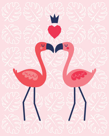 Cute vector greeting card template in coral and blush pink with flamingos, crown and geometric love heart on subtle palm leaf background. For Valentines Day, Wedding, Engagement, poster, invitation.