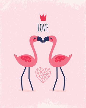 Cute vector greeting card template with coral and blush pink flamingos, crown and geometric love heart. Text reads Love, for Valentines Day, Wedding, Engagement, poster, menu, invitation.