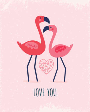 Cute vector greeting card template with coral and blush pink flamingos and geometric love heart. Text reads Love You, for Valentines Day, Wedding, Engagement, poster, menu, invitation. Ilustração