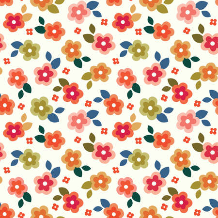 Fun seamless vector mini print in warm, summer colors on a cream background. Colorful retro pattern for birthday, gift wrapping paper, home decor and fashion textiles.