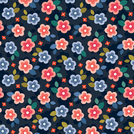 Cute seamless vector floral mini print in coral, blush, blue and red on dark navy background. Colorful summer pattern design for gift wrapping paper, textiles, homewares and fashion.