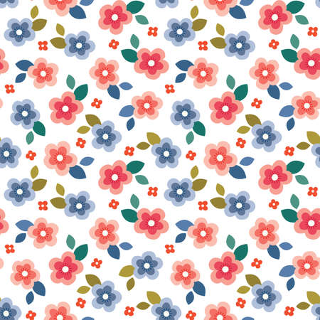 Cute seamless vector floral mini print in coral, blush, blue and red on white background. Colorful summer pattern design for home decor and fashion textiles, gift wrapping paper and birthdays.