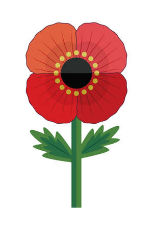 Retro style illustration of a red poppy flower, isolated on white. Cute vector illustration for Remembrance Day and Anzac Day. Patriotic memorial element for web, greeting card, social media. Ilustração